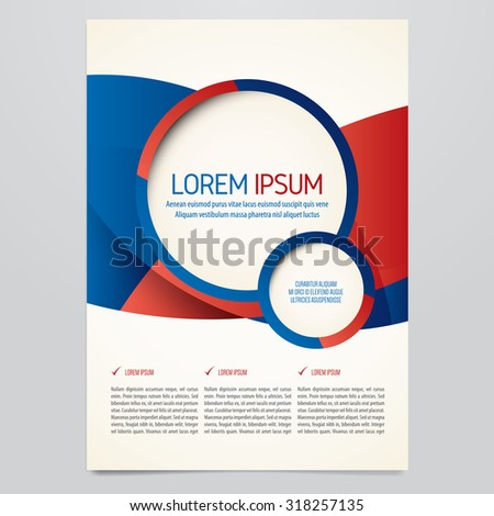 Brochure, flyer, annual report, magazine cover vector template. Modern red and blue design. - stock vector
