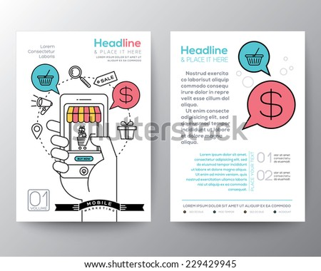 Brochure Flyer design Layout template in A4 size with digital marketing concept online shopping smart phone mobile payment - stock vector
