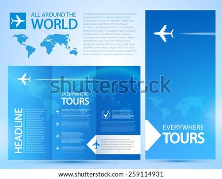 Brochure Flyer design vector template. Airplane & Travel - stock vector