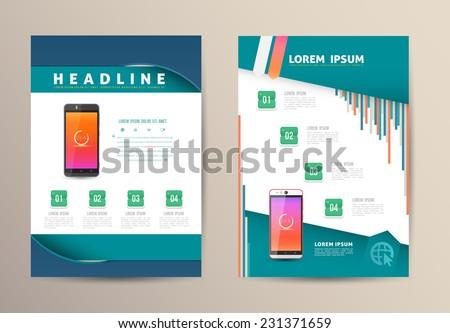 Brochure Flyer design vector template with smartphone. Vector illustration. - stock vector