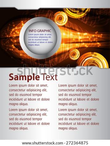 brochure, flyer, magazine cover. orange Design Template. Card Business Set. Folder. banner. label. Leaflet Abstract Technology background for computer graphic website internet. text box. - stock vector