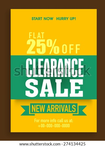 Brochure, flyer or poster design with 25% flat offer on clearance sale.  - stock vector