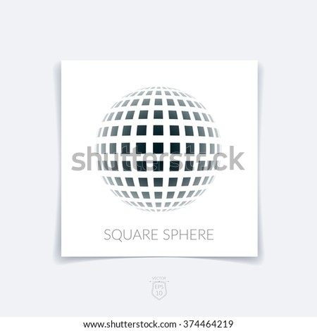 Brochure, flyer with 3D sphere of geometric rectangular shapes on white background. Vector illustration. - stock vector