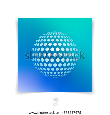 Brochure, flyer with 3D sphere of geometric round shapes on blue blurred background. Vector illustration. - stock vector