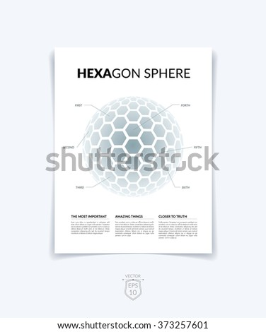 Brochure, flyer with 3D sphere of geometric shapes. Vector illustration. - stock vector