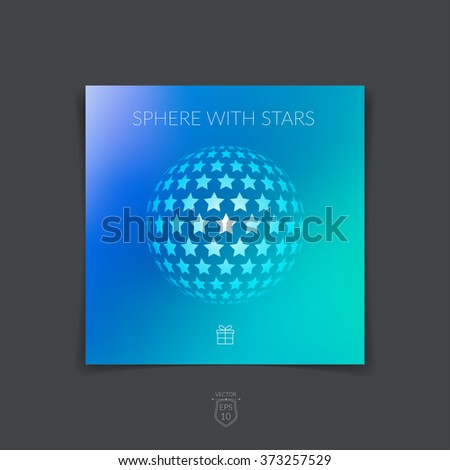 Brochure, flyer with 3D sphere of geometric stars shapes on blue blurred background. Vector illustration. - stock vector