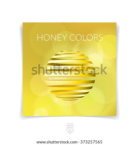 Brochure, flyer with 3D sphere of geometric stripe shapes yellow blurred background. Vector illustration. - stock vector