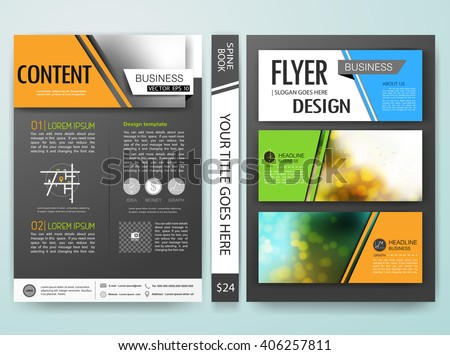 Brochure flyers annual report design template vector. Leaflet cover presentation with abstract bokeh blur background. Layout in A4 size .