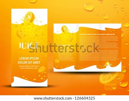 brochure folder juice fruit drops liquid orange element design / cmyk, no transparent - stock vector
