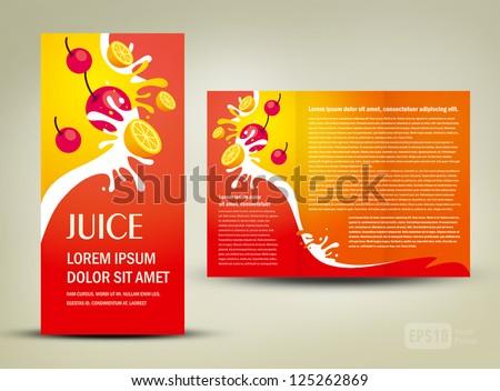 brochure folder juice fruit drops liquid orange red element design / cmyk, no transparent - stock vector