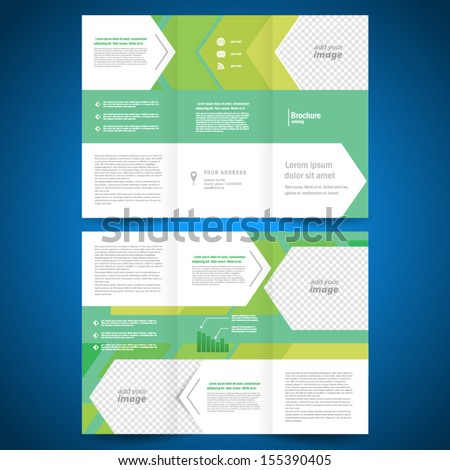 brochure folder leaflet geometric abstract element arrow line white green background,  block for images - stock vector