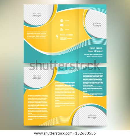 brochure folder leaflet geometric abstract element color white line yellow green background, block for images