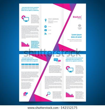 brochure folder leaflet origami geometric - stock vector