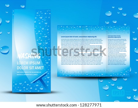 brochure folder washing cleaning design / cmyk, no transparent - stock vector