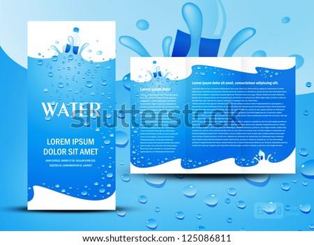 brochure folder water aqua splash bottle element design / cmyk, no transparent - stock vector