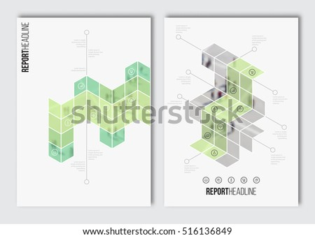Brochure layout template. Vector business infographics, blur background with elements for magazine, flyer, cover, poster design. A4 size.
