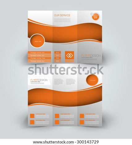 Brochure mock up design template for business, education, advertisement. Trifold booklet editable printable vector illustration. Orange color. - stock vector