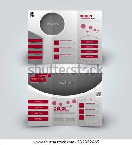 Brochure mock up design template for business, education, advertisement. Trifold booklet editable printable vector illustration. Red color. - stock vector