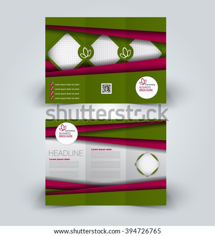 Brochure mock up design template for business, education, advertisement. Trifold booklet editable printable vector illustration. Green and red color. - stock vector