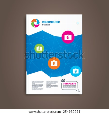 Brochure or flyer design. Businessman case icons. Cash money diplomat signs. Dollar, euro and pound symbols. Book template. Vector - stock vector