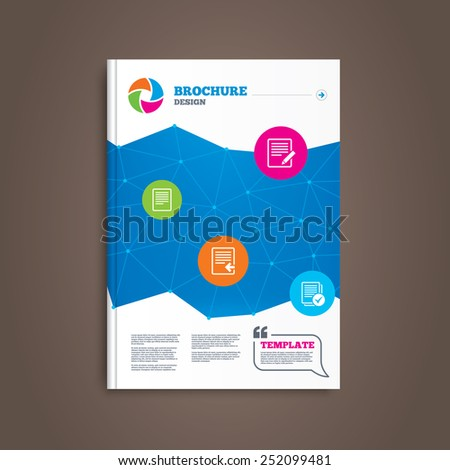 Brochure or flyer design. File document icons. Upload file symbol. Edit content with pencil sign. Select file with checkbox. Book template. Vector - stock vector