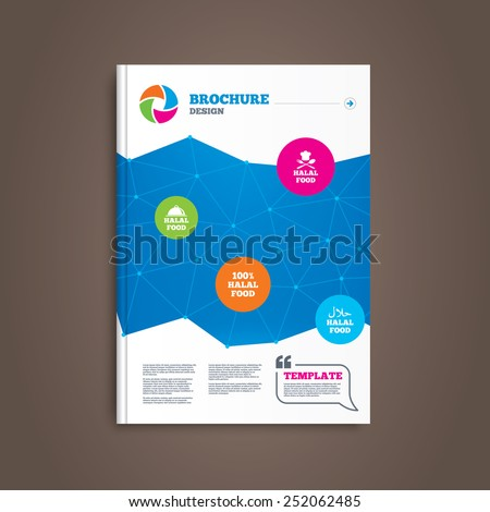 Brochure or flyer design. Halal food icons. 100% natural meal symbols. Chef hat with spoon and fork sign. Natural muslims food. Book template. Vector - stock vector