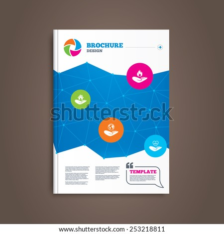 Brochure or flyer design. Helping hands icons. Health and travel trip insurance symbols. Home house or real estate sign. Fire protection. Book template. Vector - stock vector