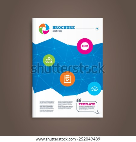 Brochure or flyer design. Quiz icons. Human brain think. Checklist symbol. Survey poll or questionnaire feedback form. Questions and answers game sign. Book template. Vector - stock vector