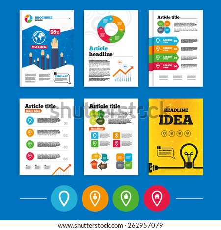 Brochure or flyers design. Map pointer icons. Home, food and user location symbols. Restaurant and cupcake signs. You are here. Business poll results infographics. Vector - stock vector