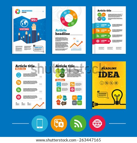 Brochure or flyers design. Question answer icon.  Smartphone and Q&A chat speech bubble symbols. RSS feed and internet globe signs. Communication Business poll results infographics. Vector  - stock vector