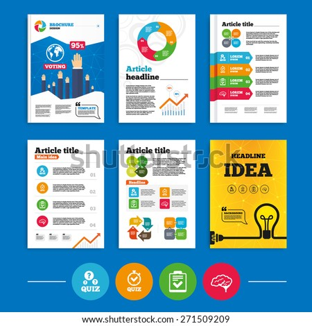 Brochure or flyers design. Quiz icons. Human brain think. Checklist and stopwatch timer symbol. Survey poll or questionnaire feedback form sign. Business poll results infographics. Vector - stock vector