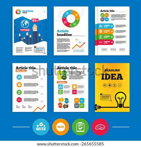 Brochure or flyers design. Quiz icons. Human brain think. Checklist symbol. Survey poll or questionnaire feedback form. Questions and answers game sign. Business poll results infographics. Vector - stock vector