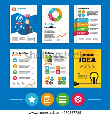 Brochure or flyers design. Star favorite and menu list icons. Checklist and cogwheel gear sign symbols. Business poll results infographics. Vector - stock vector
