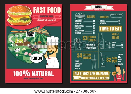 Brochure or poster Restaurant fast foods burger menu with people vector format eps10 - stock vector