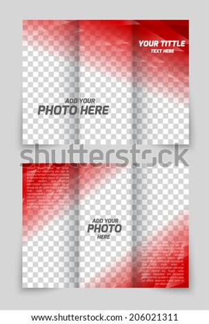 Brochure red template in tech style for cover design - stock vector