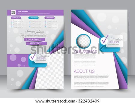 Brochure template. Business flyer. Editable A4 poster for design, education, presentation, website, magazine cover. Blue and purple and pink color. - stock vector