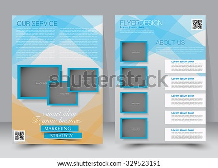 Brochure template. Business flyer. Editable A4 poster for design, education, presentation, website, magazine cover. Blue and orange color. - stock vector