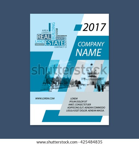 Brochure template design. Concept of architecture design with wordcloud. Vector illustration. Brochure template for real estate company. Brochure template for print or website. - stock vector - stock vector