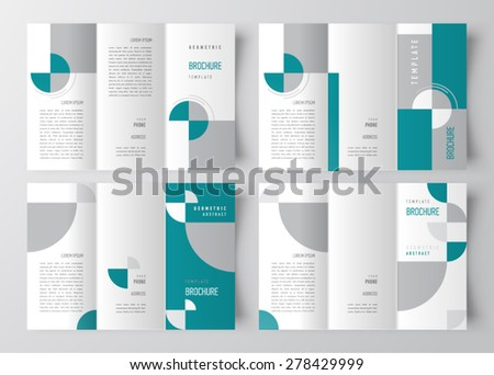 brochure template design geometric abstract set - stock vector