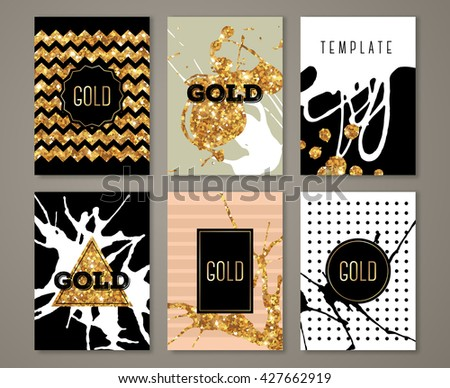 Brochure template design set with brush stroke and geometric elements. Vector illustration. Grunge vintage cards with golden paint on black, retro style poster or flyer. Polka dots and zig zag