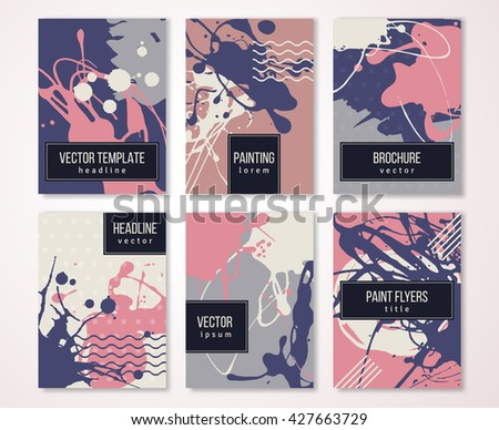 Brochure template design set with pastel strokes and colorful acrylic paint drips. Vector illustration. Grunge vintage cards, retro style poster or flyer.  - stock vector