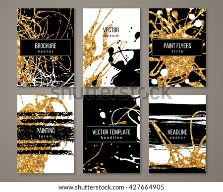 Brochure template design set with pastel strokes and gold acrylic paint drips. Vector illustration. Grunge vintage golden cards, retro style poster or flyer.