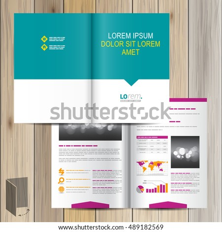 Brochure template design with color shapes. Cover layout