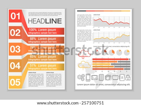 Brochure Template Design with Infographic elements, charts and icons. Creative Vector Flyer, Pamphlet, Leaflet set for business, marketing, advertising and corporate web site layout and Background.