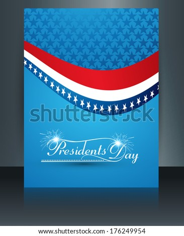brochure template for united states of america in president day colorful wave background illustration