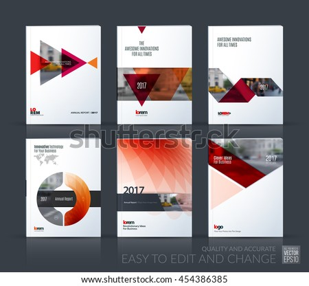 Brochure template layout, cover design annual report, magazine, flyer, leaflet in A4 with red triangle, arrow, circle with overlap effect for business and construction idea. Vector big mega set. - stock vector