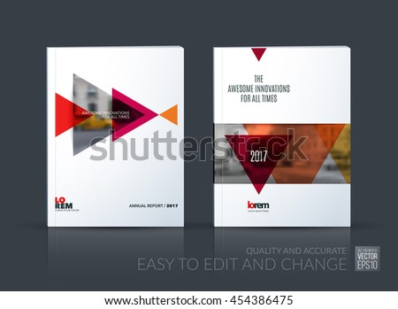 Brochure template layout, cover design annual report, magazine, flyer, leaflet in A4 with red triangle, arrow with overlap effect for business and construction idea. Vector set. - stock vector