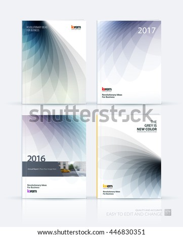 Brochure template layout, cover design annual report, magazine, flyer or booklet in A4 with grey soft wave flower shapes for business and beauty template with beautiful overlap effect. Vector set. - stock vector