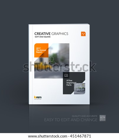 Brochure template layout, cover design annual report, magazine, flyer or booklet in A4 with orange squares, rectangles and overlap effect for business with industrial and modern concept. Vector. - stock vector
