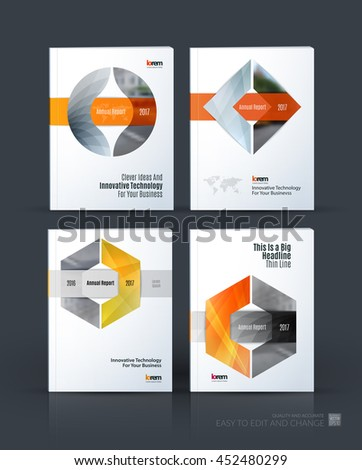 Brochure template layout, cover design annual report, magazine, flyer or leaflet in A4 with triangle, circle and square with overlap effect for business with industrial and modern concept. Vector set. - stock vector
